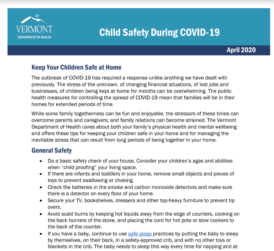 covid child safety fact sheet